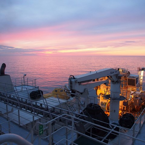 Dogger Bank sunset from survey vessel Despina (April 2020)